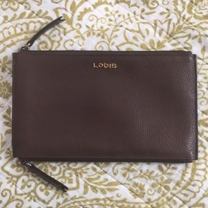 Lodis Double-Zippered Slim Wallet Brown